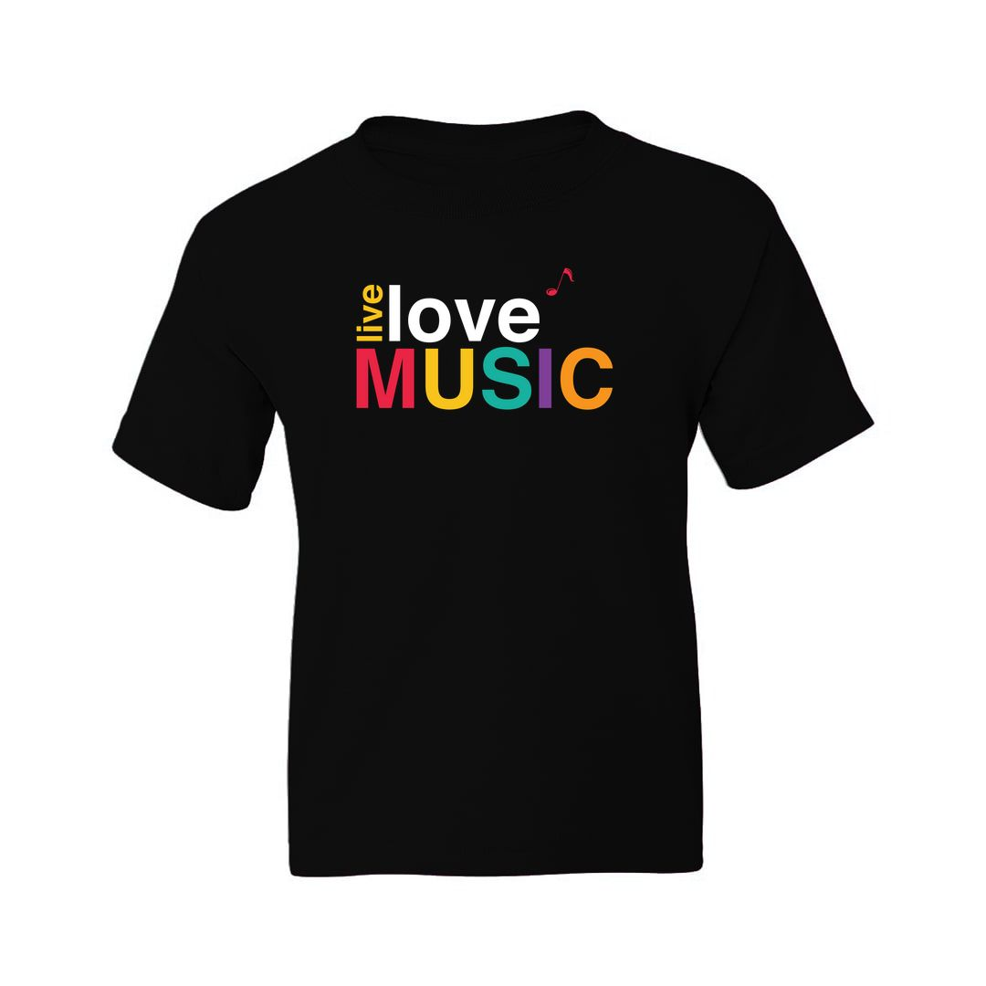 3aa74e03 Live Love Music Colourful Typography Kids T Shirt Black Front