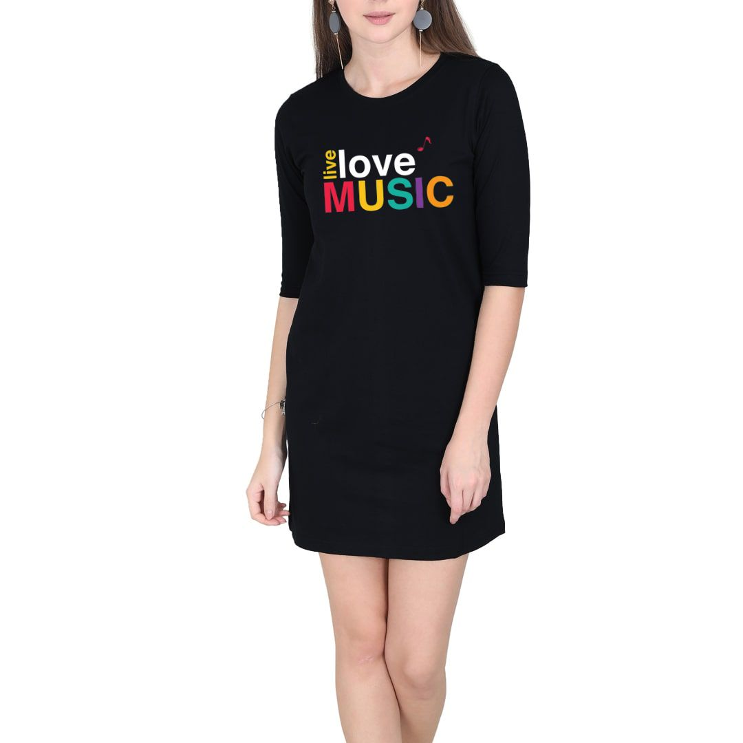 3aa74e03 Live Love Music Colourful Typography Women T Shirt Dress Black Front