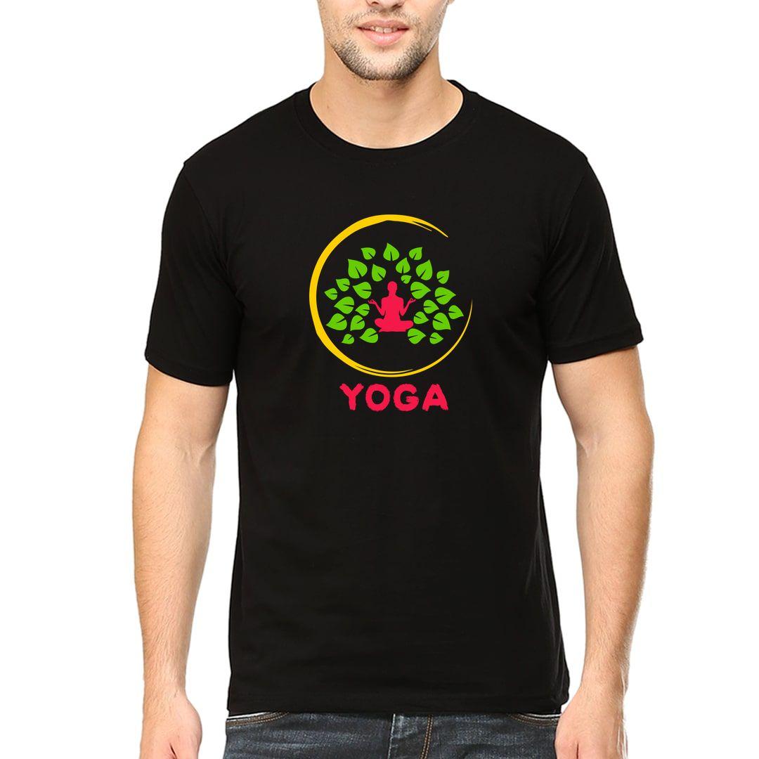 3abc250e Pride Of India Meditation And Yoga Class Men T Shirt Black Front