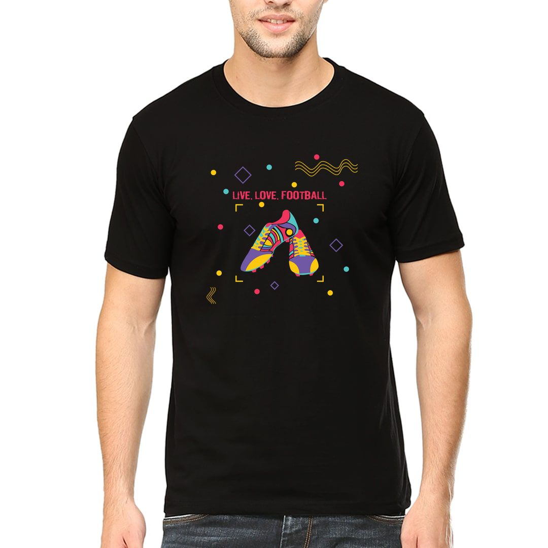 5487bc0e Live Love Football Colourful Abstract Football Boots Men T Shirt Black Front