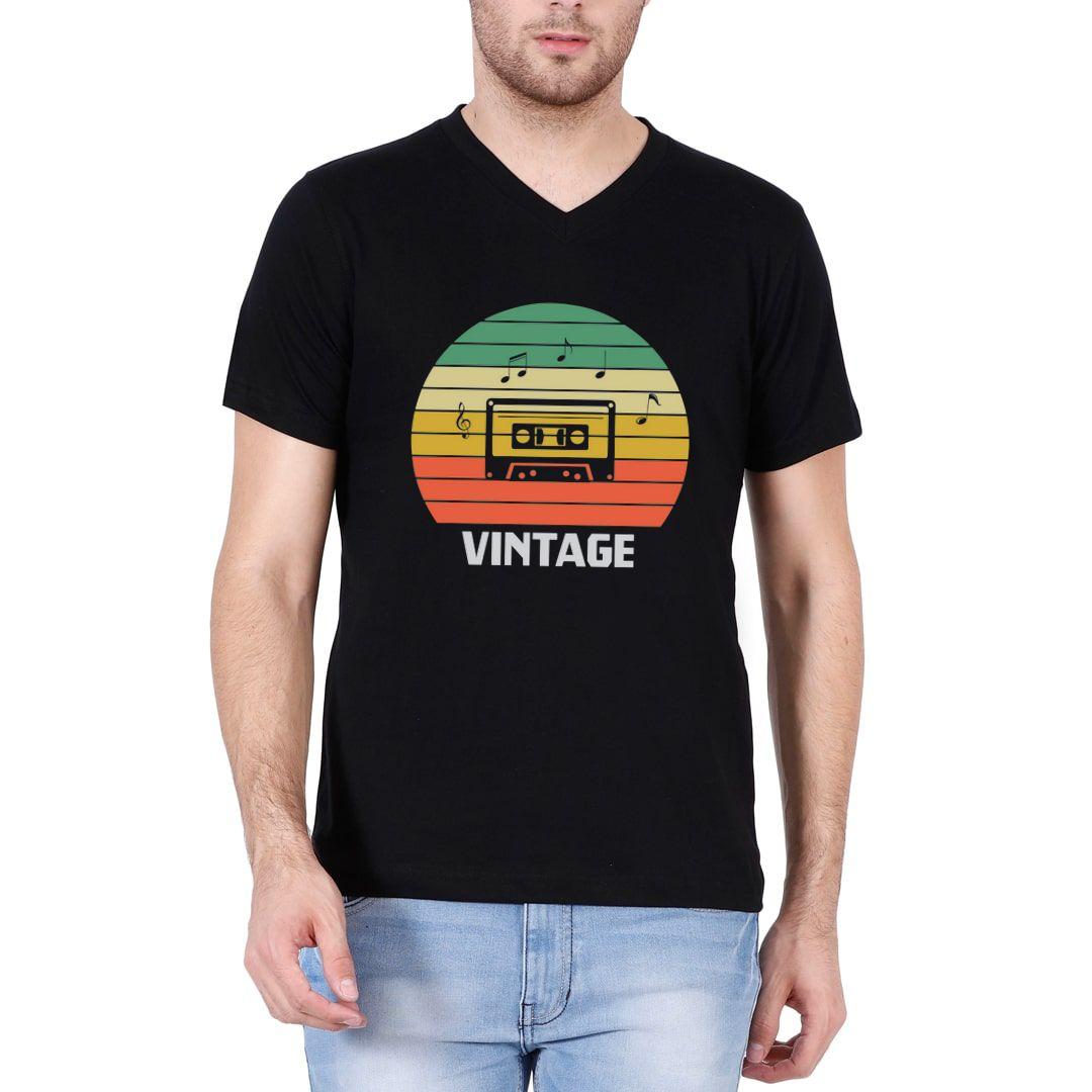 5d1d91fd Vintage Music 80s 90s Music Lover Men V Neck T Shirt Black Front