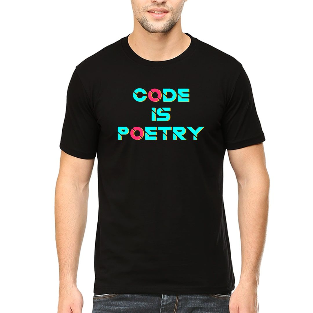 61181d85 Code Is Poetry For Web Android Python Javascript Developers Men T Shirt Black Front