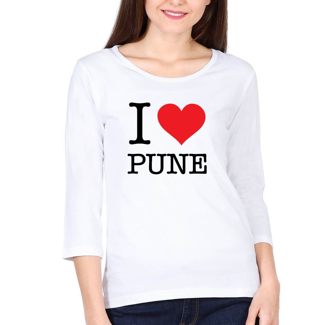 62ca9351 I Love Pune Elbow Sleeve Women T Shirt White Front