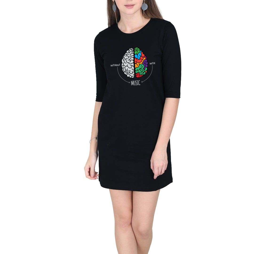 641014db Live Life Colourfully With Music Women T Shirt Dress Black Front