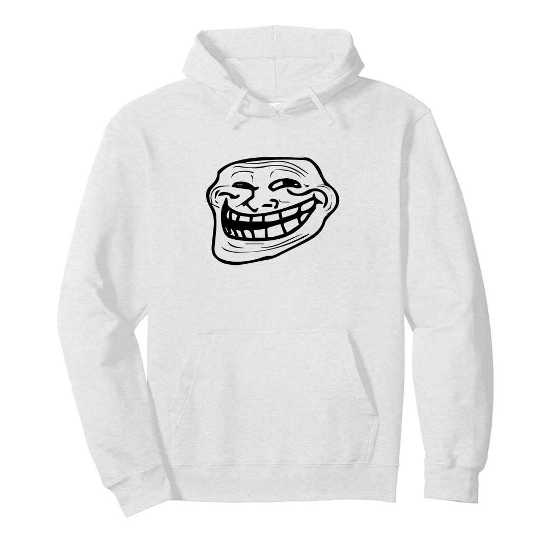 64d9c07b Authentic Troll Face Unisex Hooded Sweatshirt Hoodie White Front