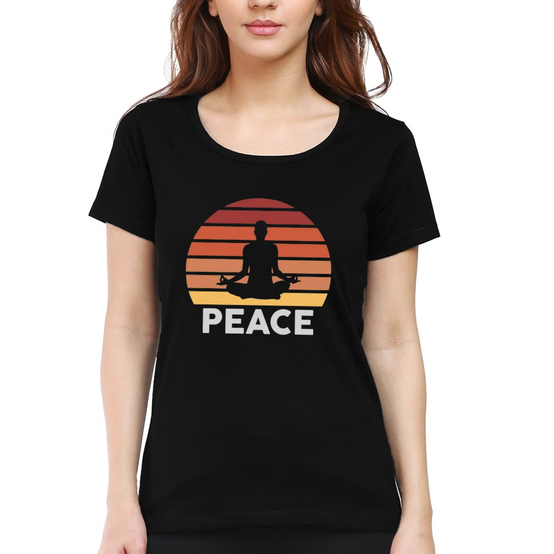 66389d55 Yoga And Meditation Equals Peace Indian Retro Style Women T Shirt Black Front