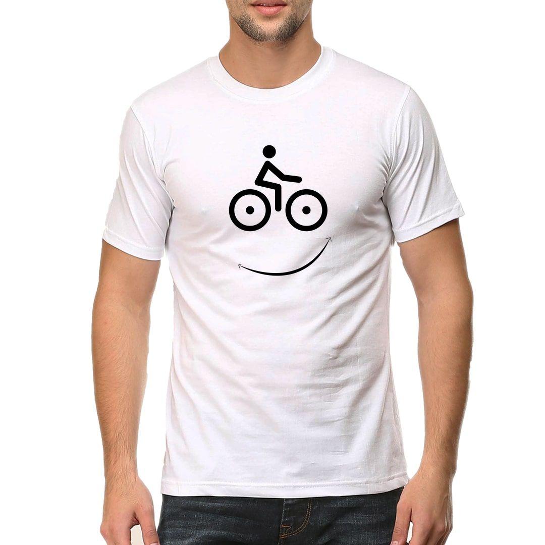 69564e51 Cycling Smiley Men T Shirt White Front