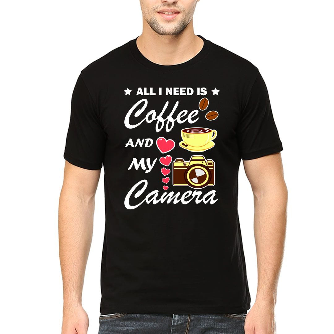 7619f100 All I Need Is Coffee And My Camera Men T Shirt Black Front