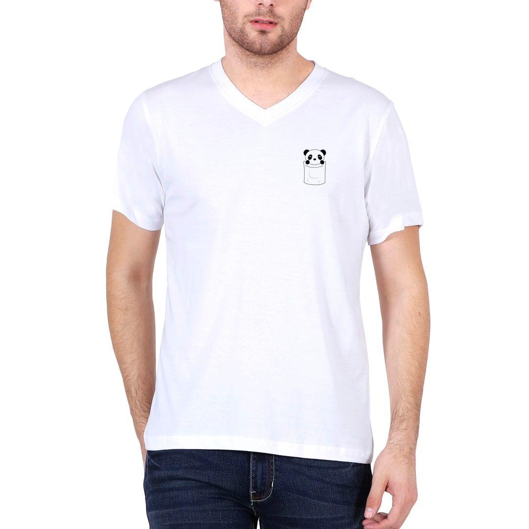 80993f6d Cute Pocket Panda Men V Neck T Shirt White Front