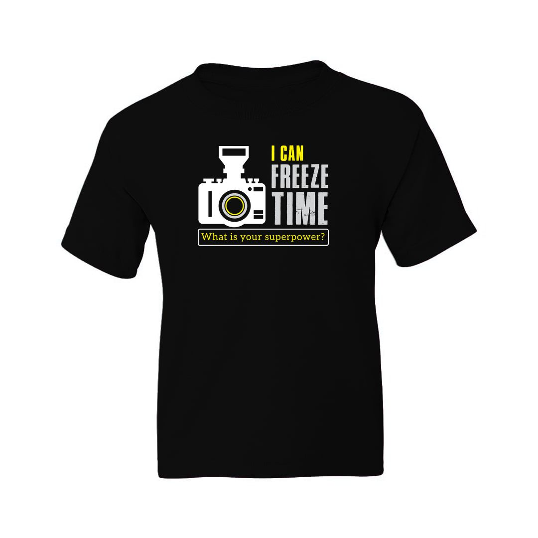 824248db I Can Freeze Time What Is Your Superpower Photographer Kids T Shirt Black Front