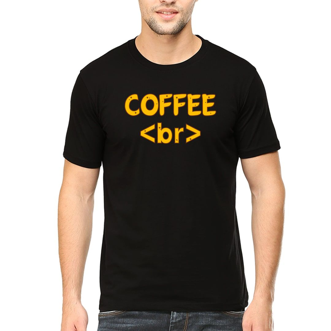 83f12008 Coffee Break Creative Indian Web Developer Office Men T Shirt Black Front
