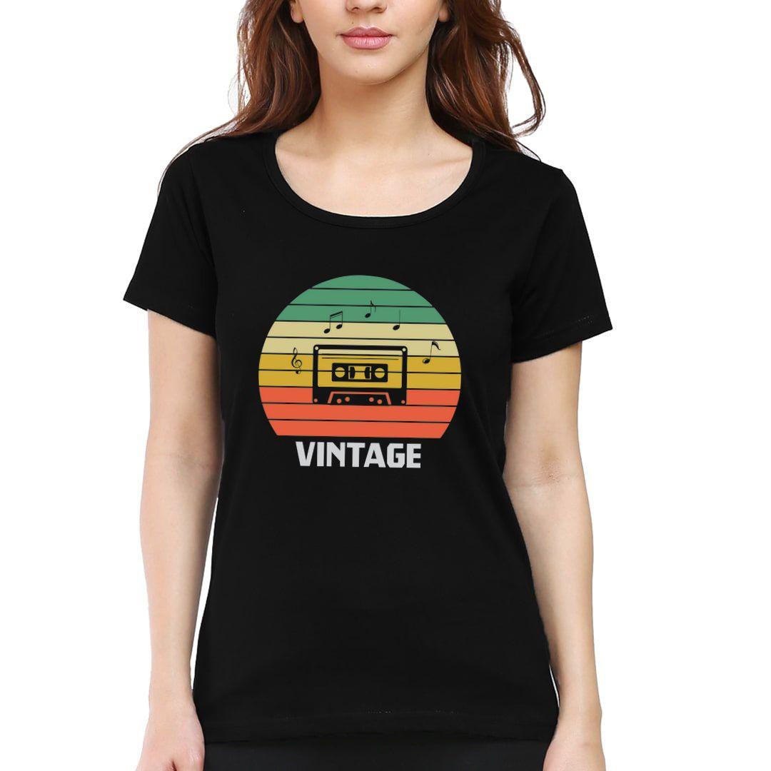 8a3ed2af Vintage Music 80s 90s Music Lover Women T Shirt Black Front