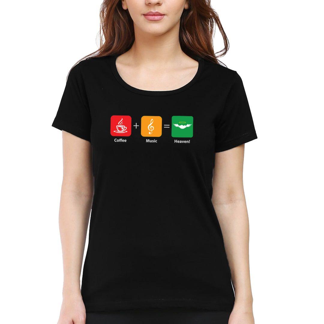 8c99f0f5 Coffee Music Heaven Women T Shirt Black Front