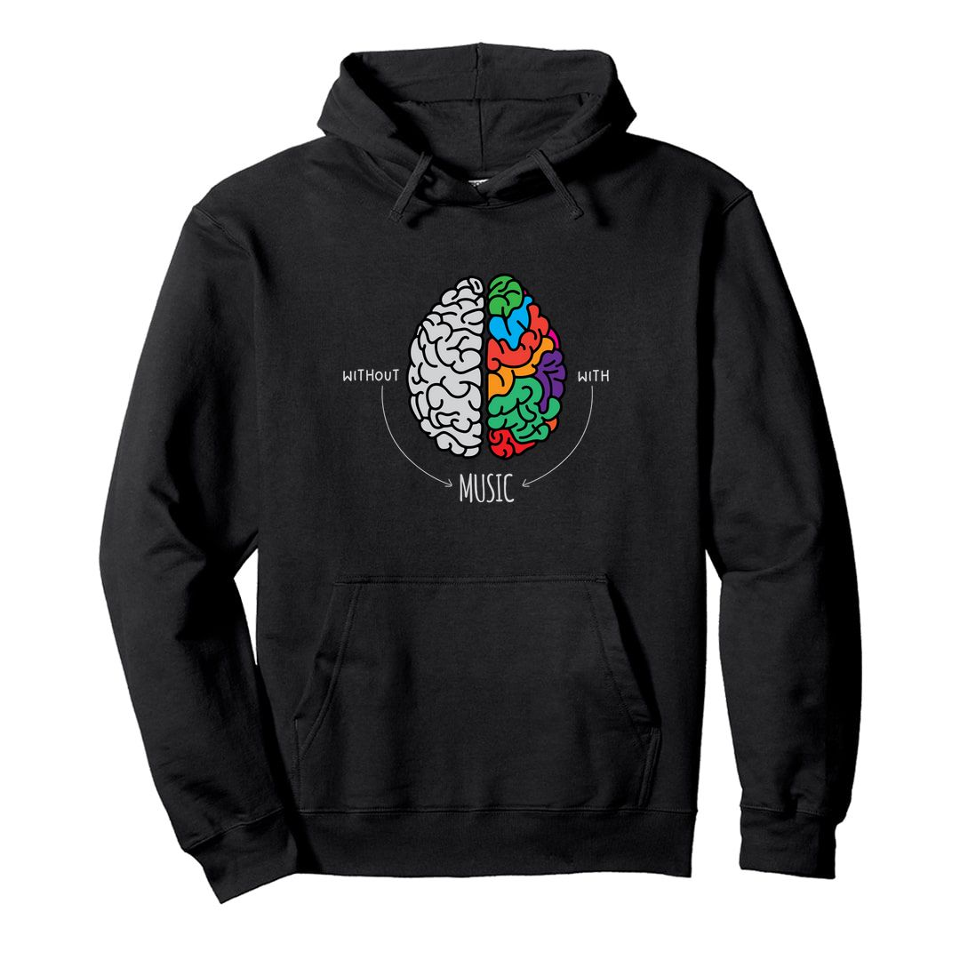 91257f09 Live Life Colourfully With Music Unisex Hooded Sweatshirt Hoodie Black Front