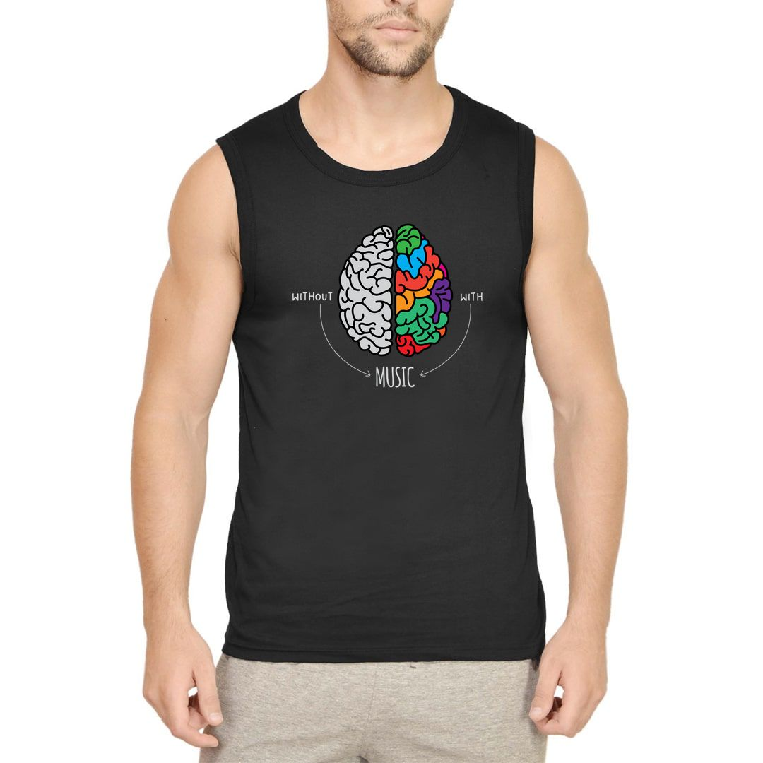 93ba8dc9 Live Life Colourfully With Music Men Sleeveless T Shirt Vest Black Front