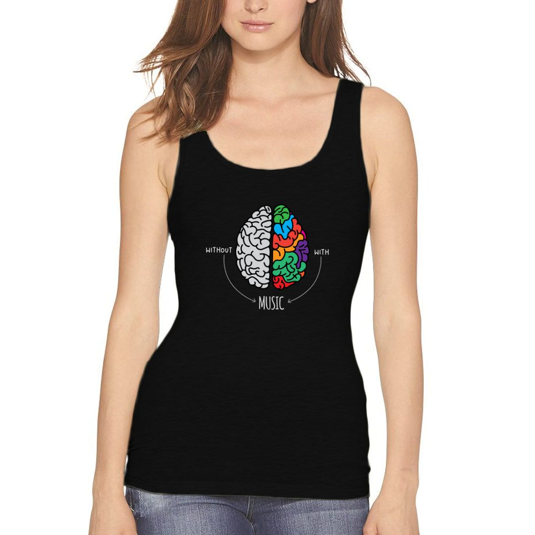 93ba8dc9 Live Life Colourfully With Music Women Tank Top Black Front