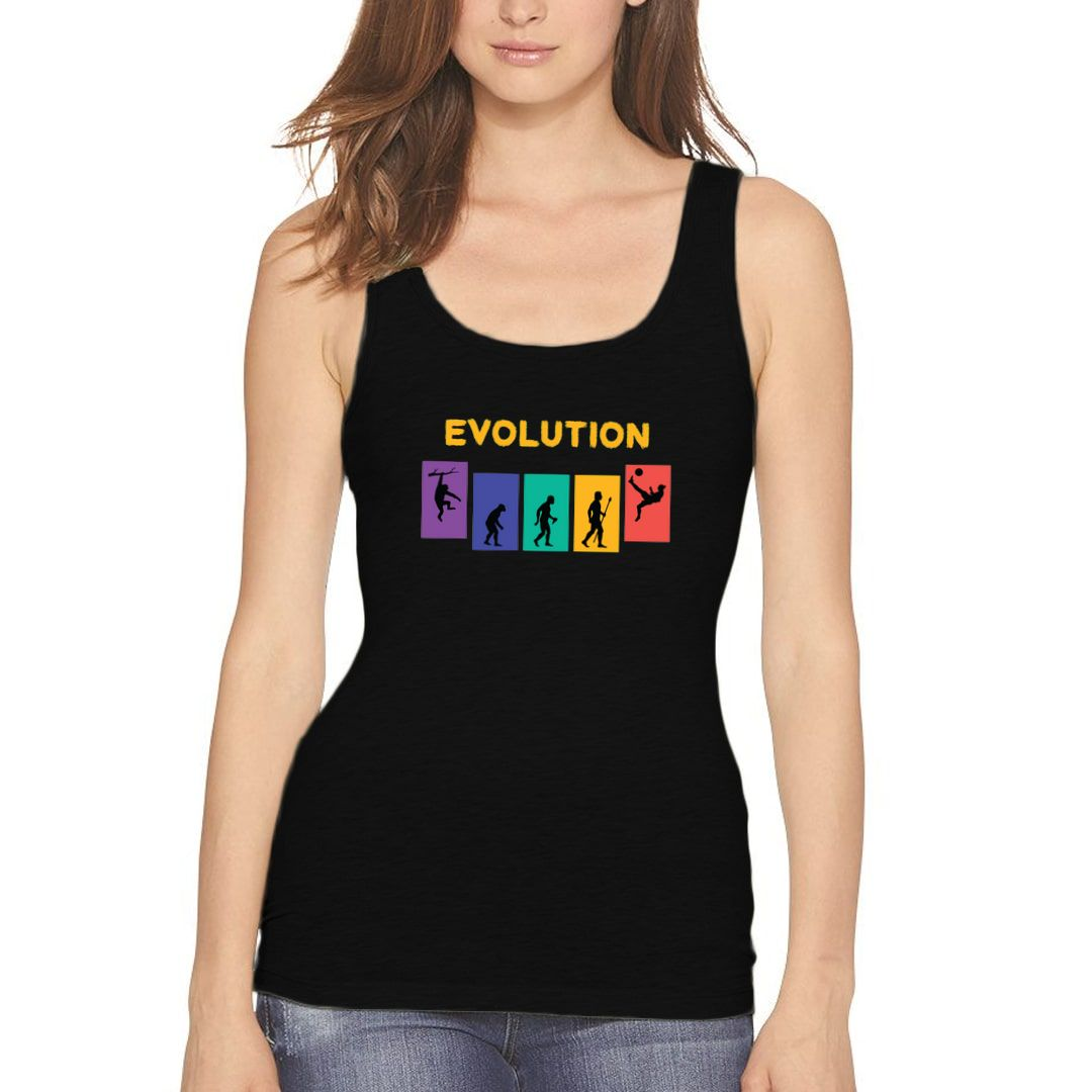 9414536d Football Evolution Colourful Funny Women Tank Top Black Front