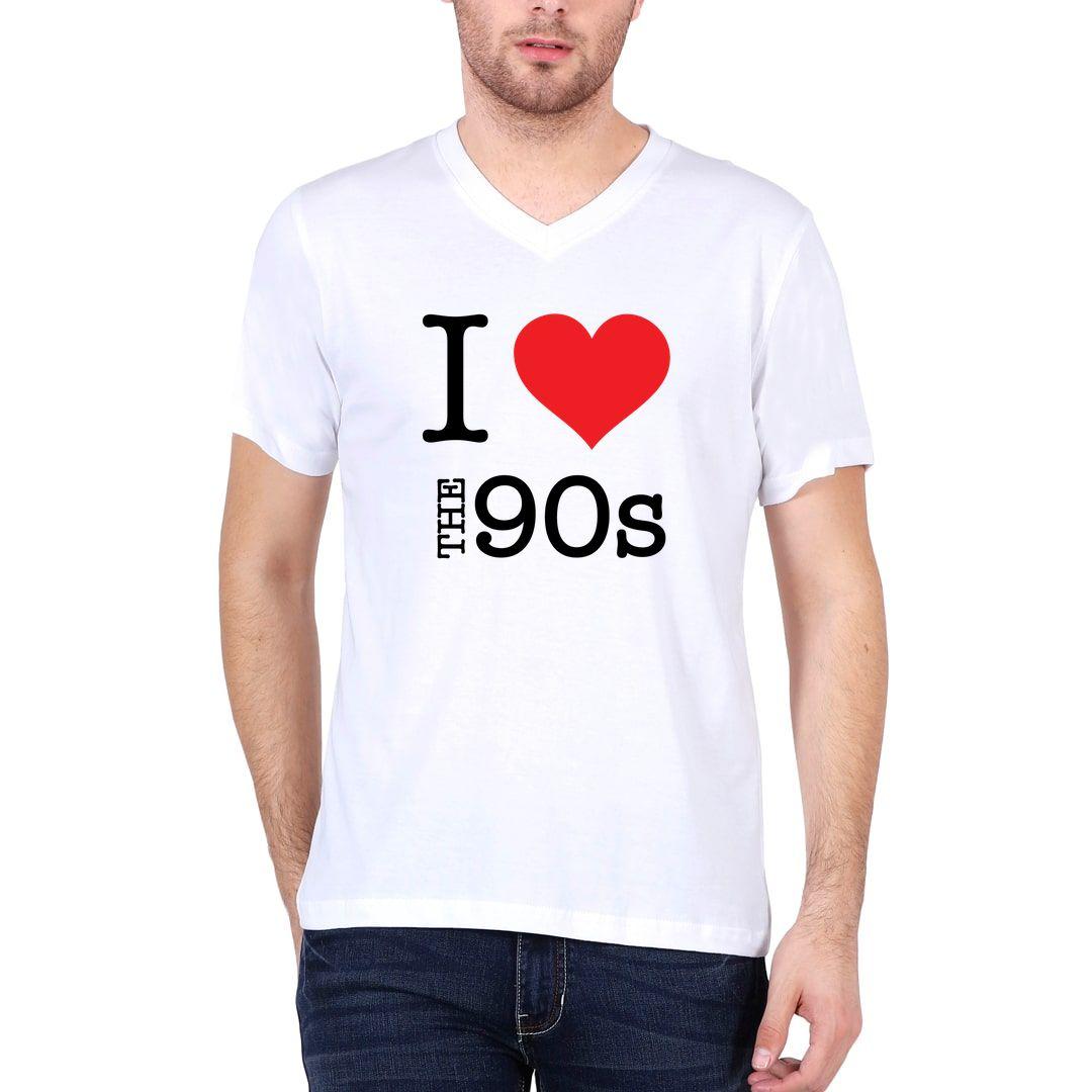 9dbb1cfa I Love The 90s Men V Neck T Shirt White Front