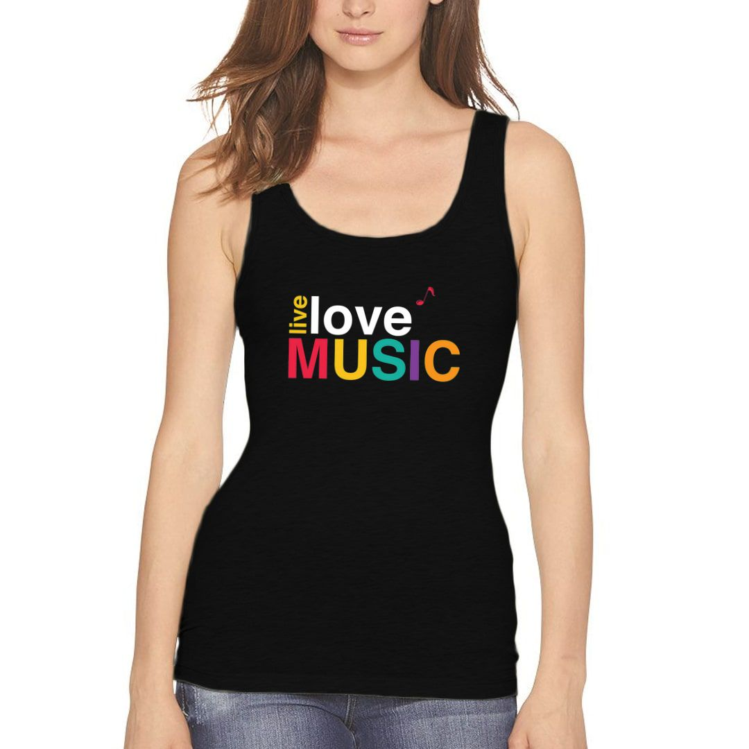 A4374f69 Live Love Music Colourful Typography Women Tank Top Black Front