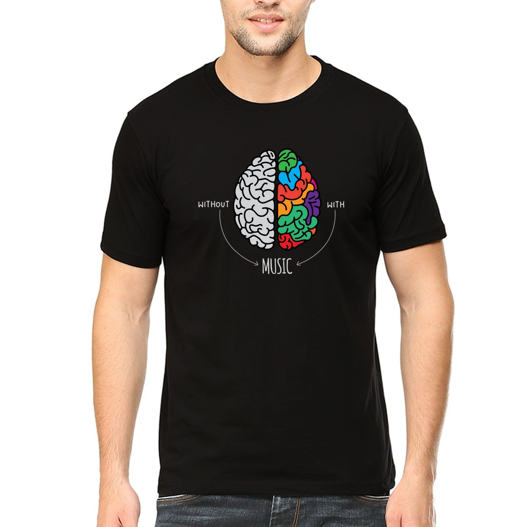 A57a0a0a Live Life Colourfully With Music Men T Shirt Black Front