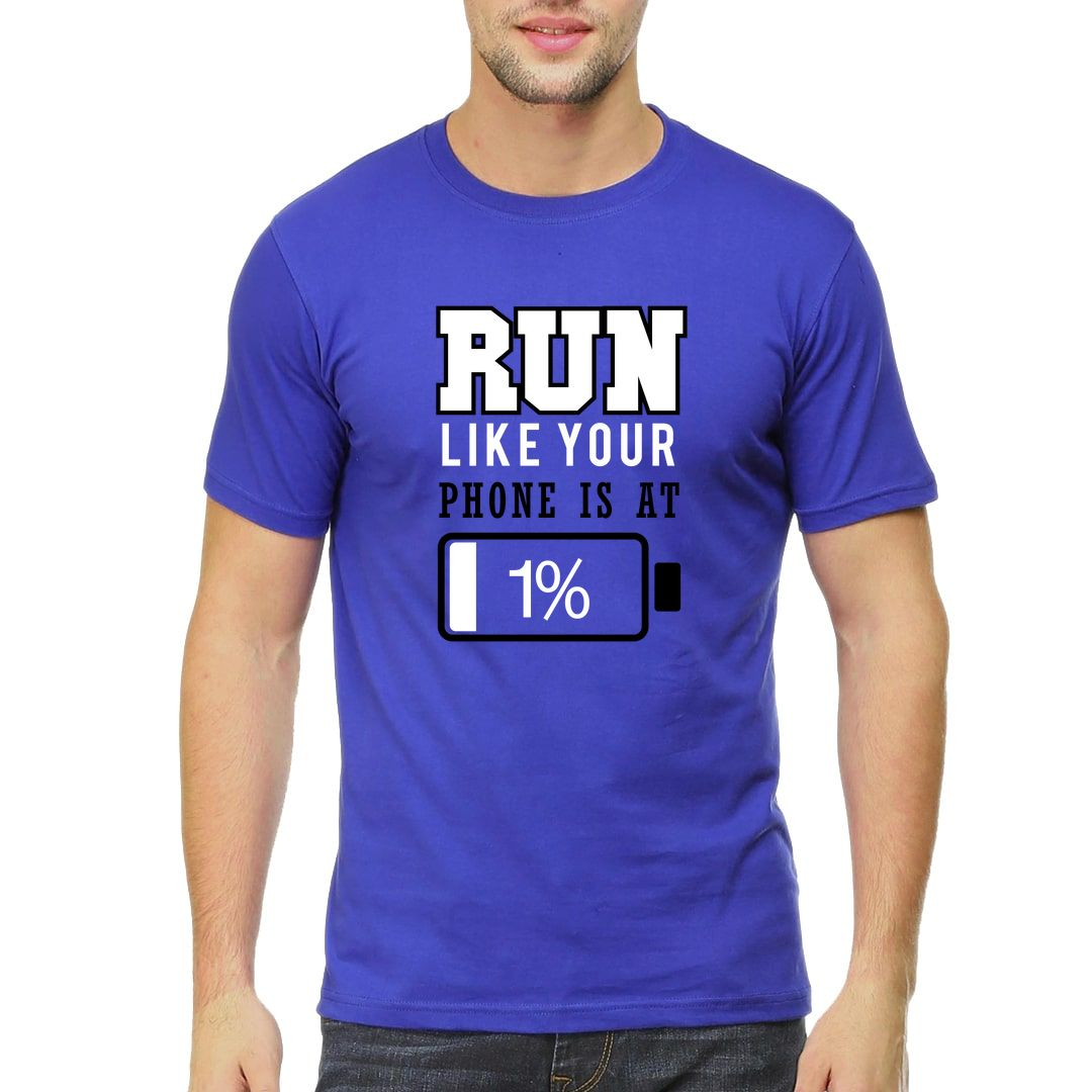 A77837ac Run Like Your Battery Is At 1 Percent Men T Shirt Royal Blue Front