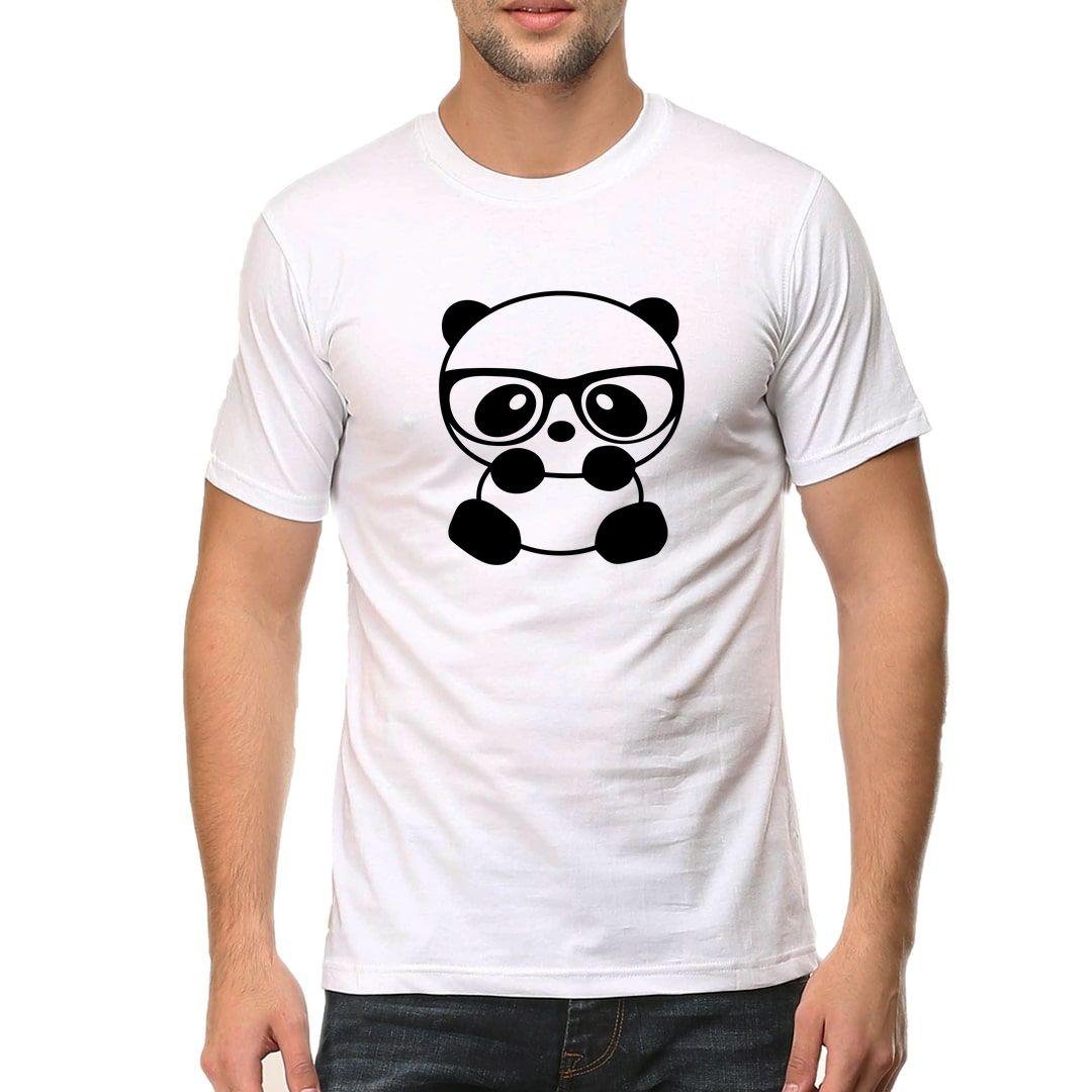 A9f75e08 Nerdy Panda With Glasses Men T Shirt White Front