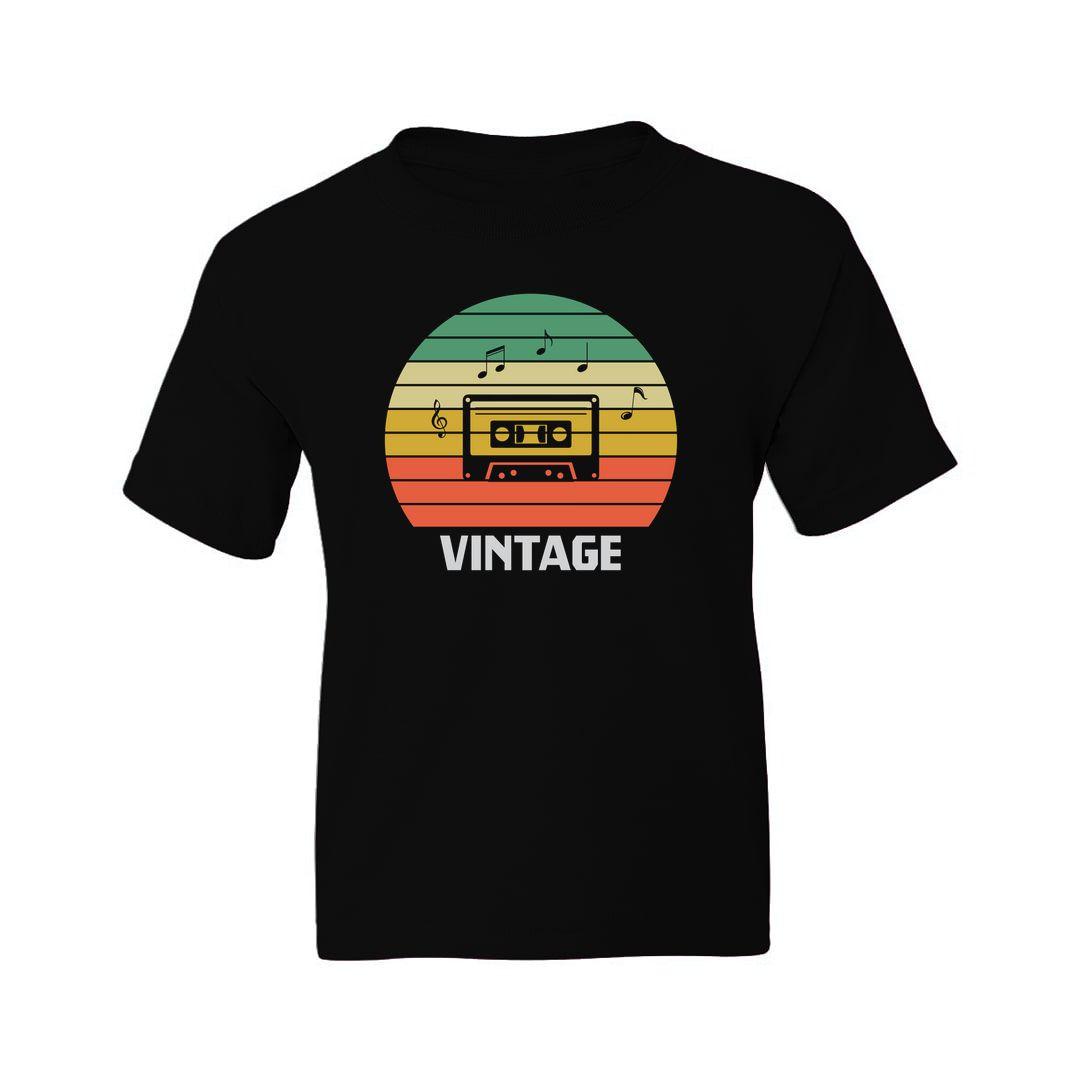 B513f388 Vintage Music 80s 90s Music Lover Kids T Shirt Black Front
