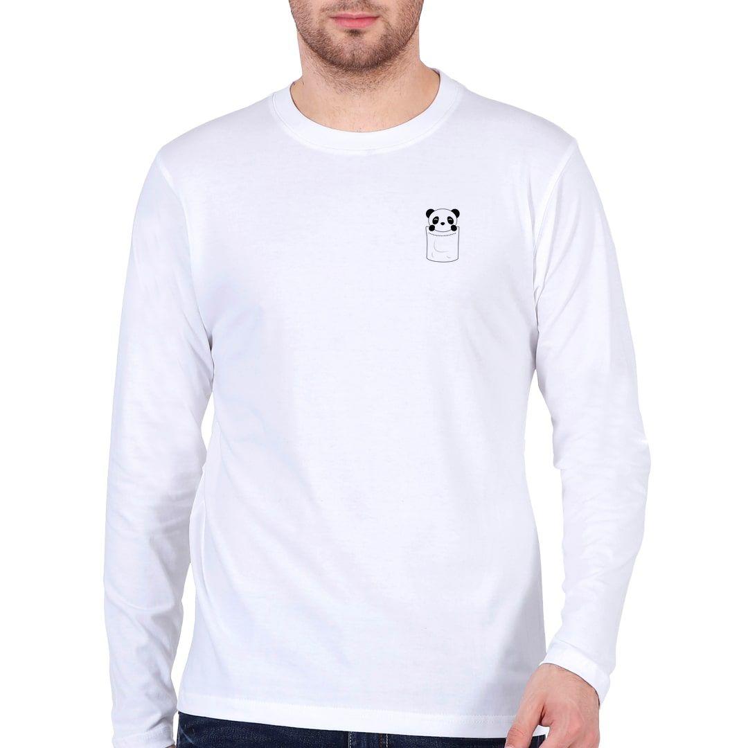 Cd553d8a Cute Pocket Panda Full Sleeve Men T Shirt White Front
