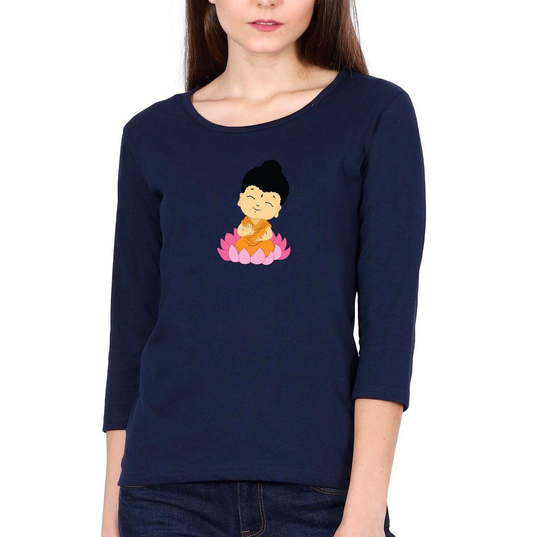 Cdd447b9 Cute Buddha Elbow Sleeve Women T Shirt Navy Front