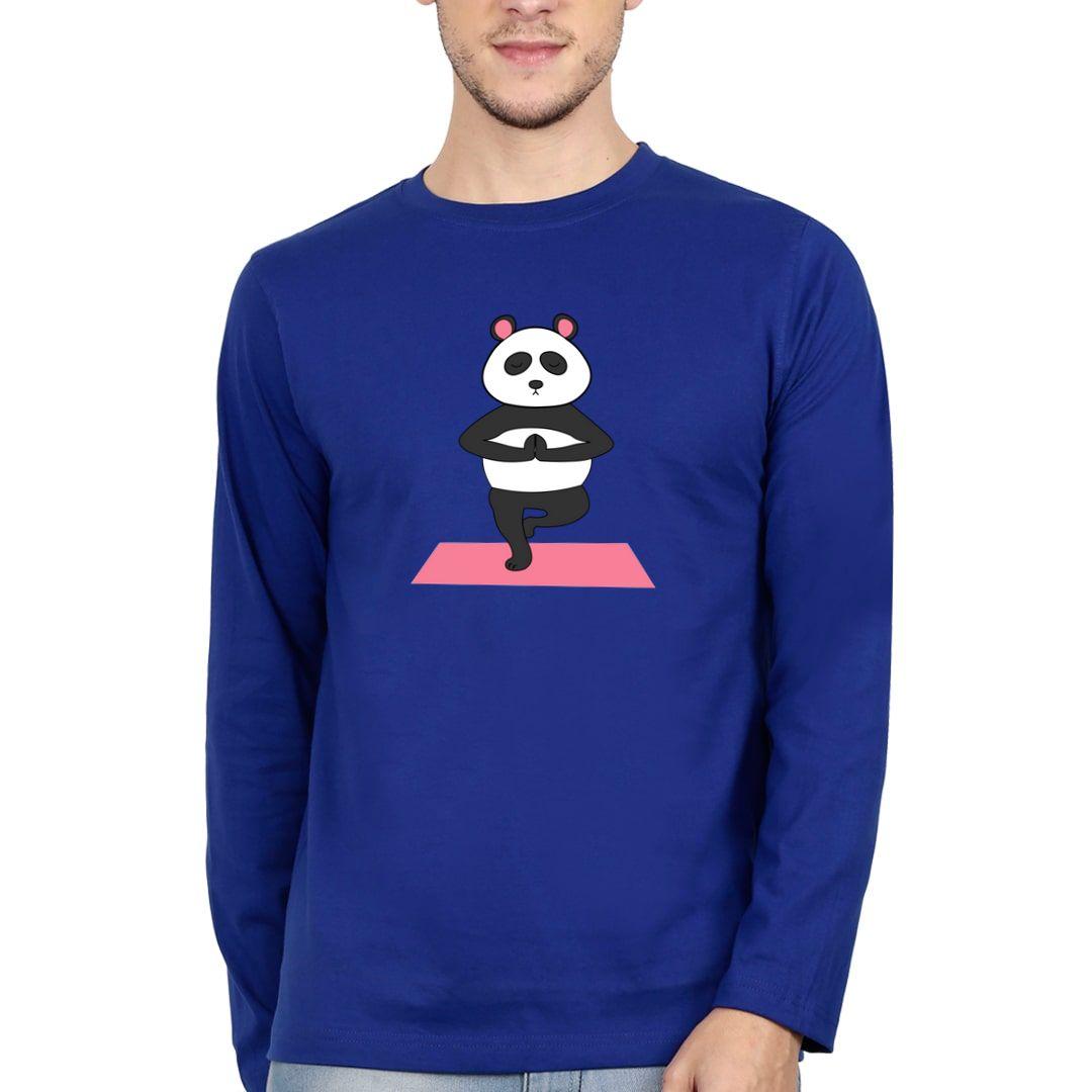 Cddad027 Cute Panda Doing Yoga And In Deep Meditation Full Sleeve Men T Shirt Royal Blue Front
