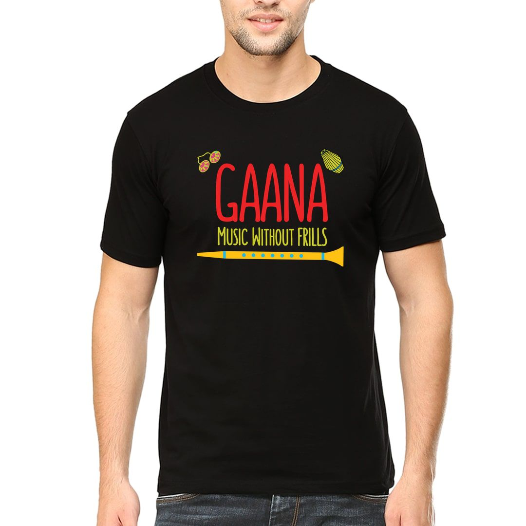 Ceed9f39 Gaana Music Without Frills Tamil Music Men T Shirt Black Front