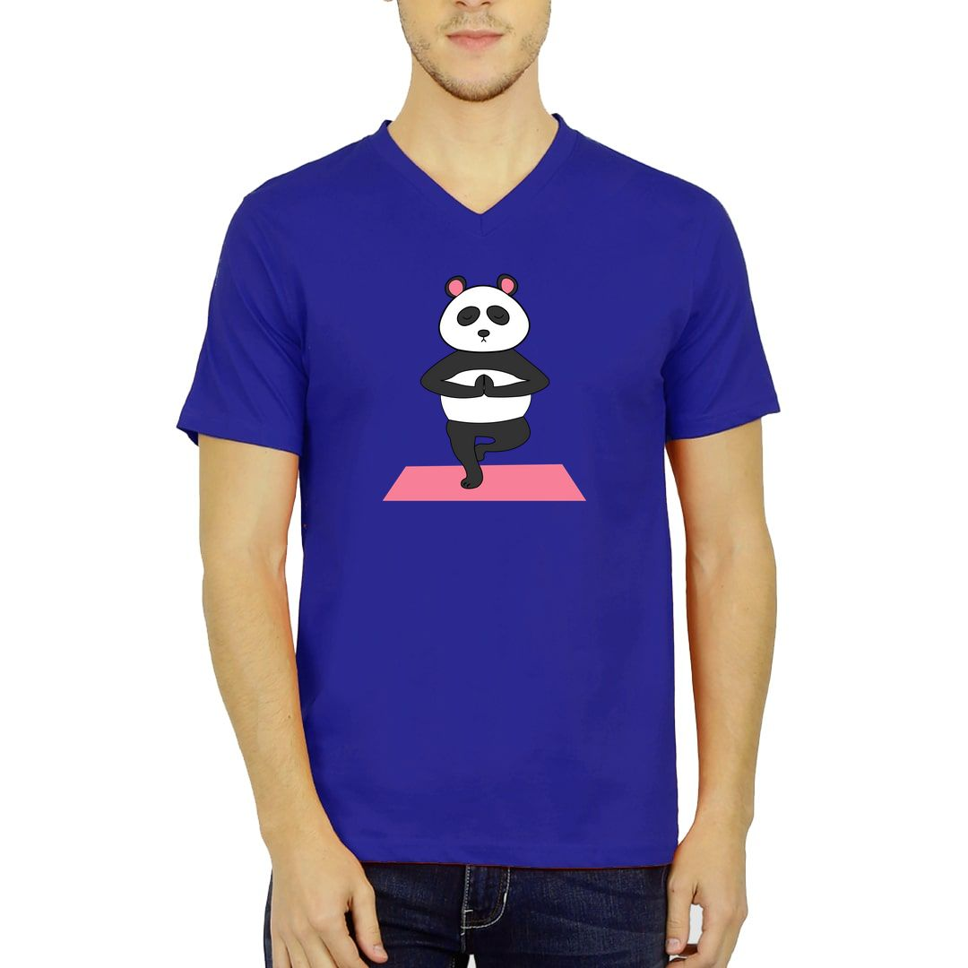 D341b3f9 Cute Panda Doing Yoga And In Deep Meditation Men V Neck T Shirt Royal Blue Front