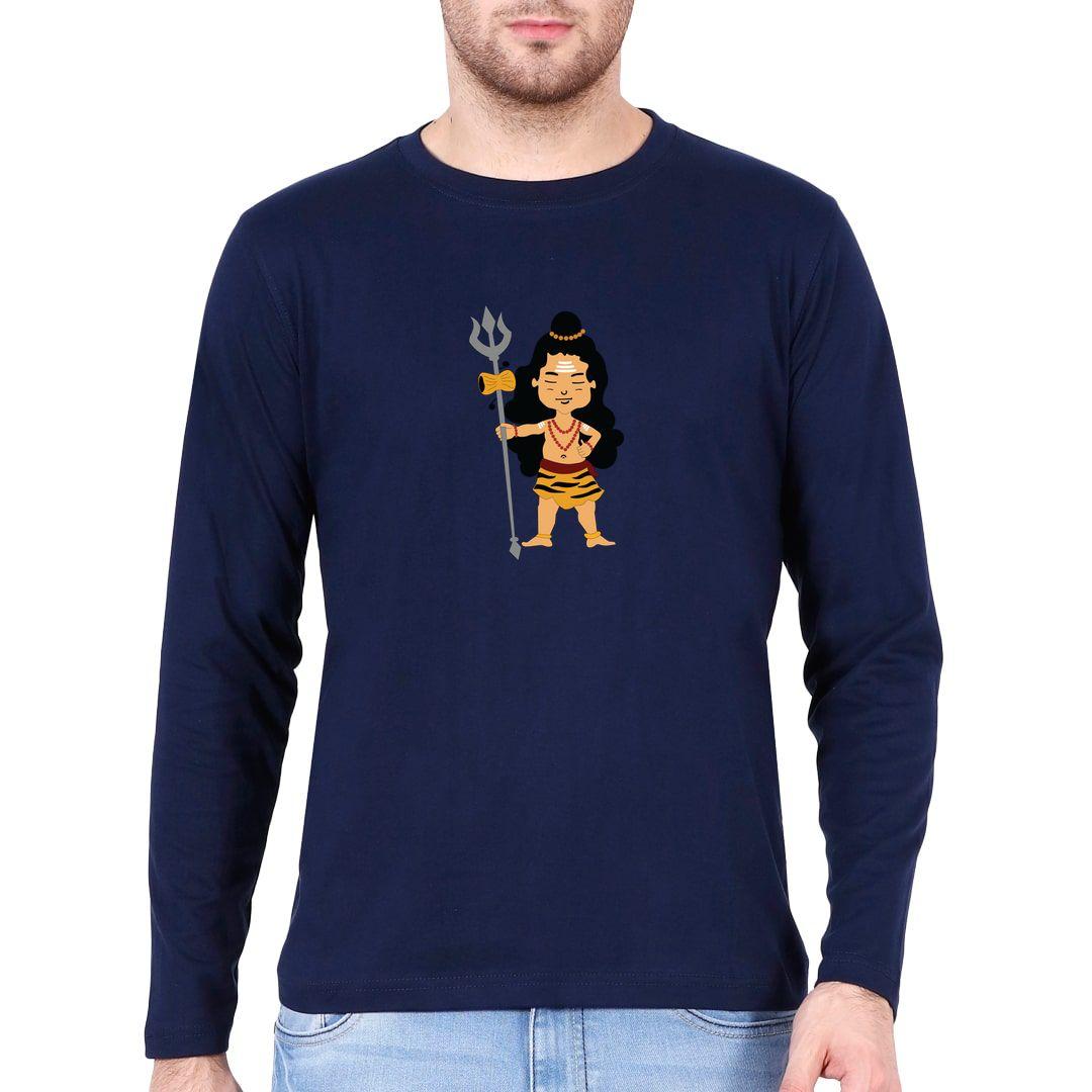 D5f2e483 Cute Lord Shiva Holding Trishul Full Sleeve Men T Shirt Navy Front