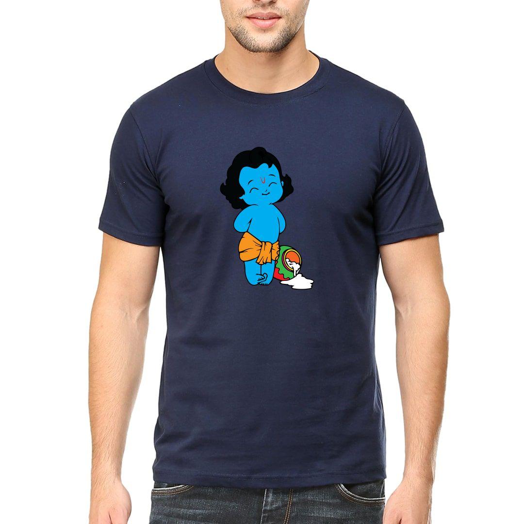 D7d4ce37 Young Cute Krishna Stealing Butter Men T Shirt Navy Front