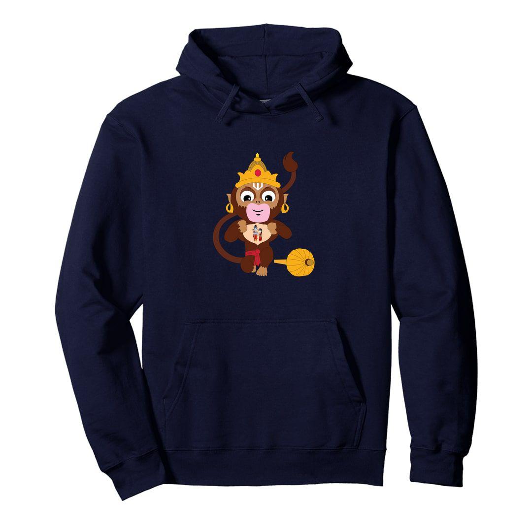 F435305a Cute Hanuman With Lord Ram And Sita Unisex Hooded Sweatshirt Hoodie Navy Front