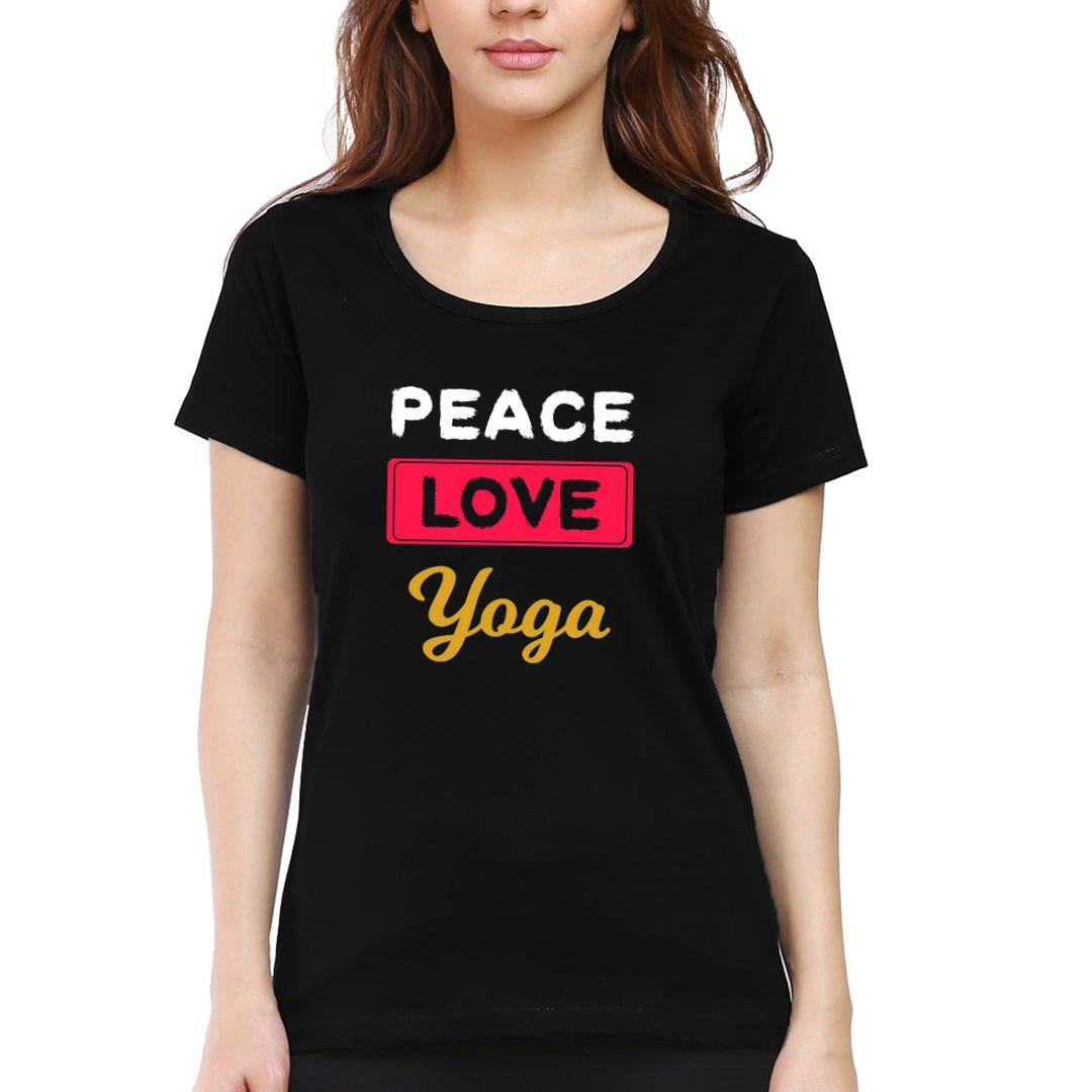 F57fb600 Peace Love Yoga For Indian Yoga Classes Women T Shirt Black Front