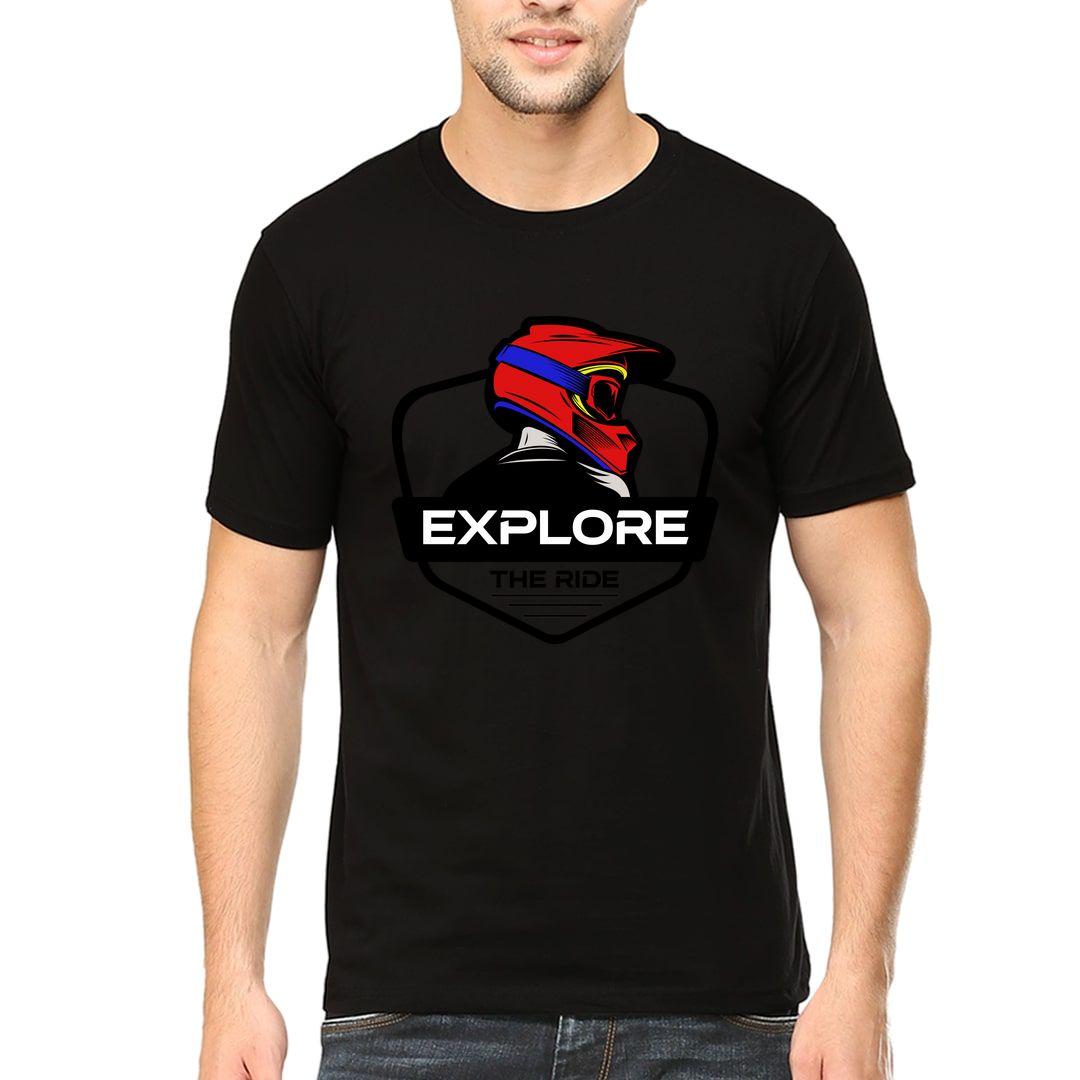 F70bbf6a Explore The Ride Cool Biker Design Men T Shirt Black Front