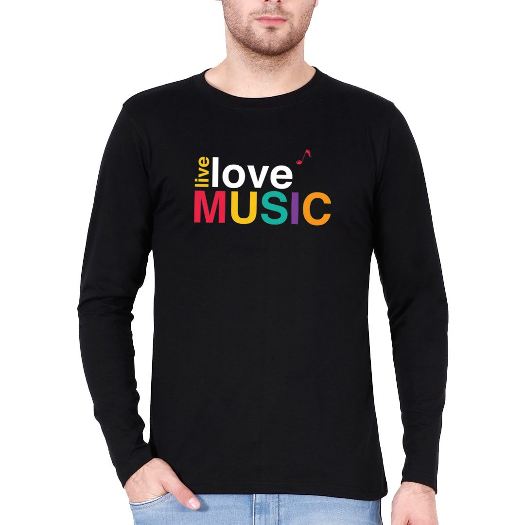 F7f3839b Live Love Music Colourful Typography Full Sleeve Men T Shirt Black Front