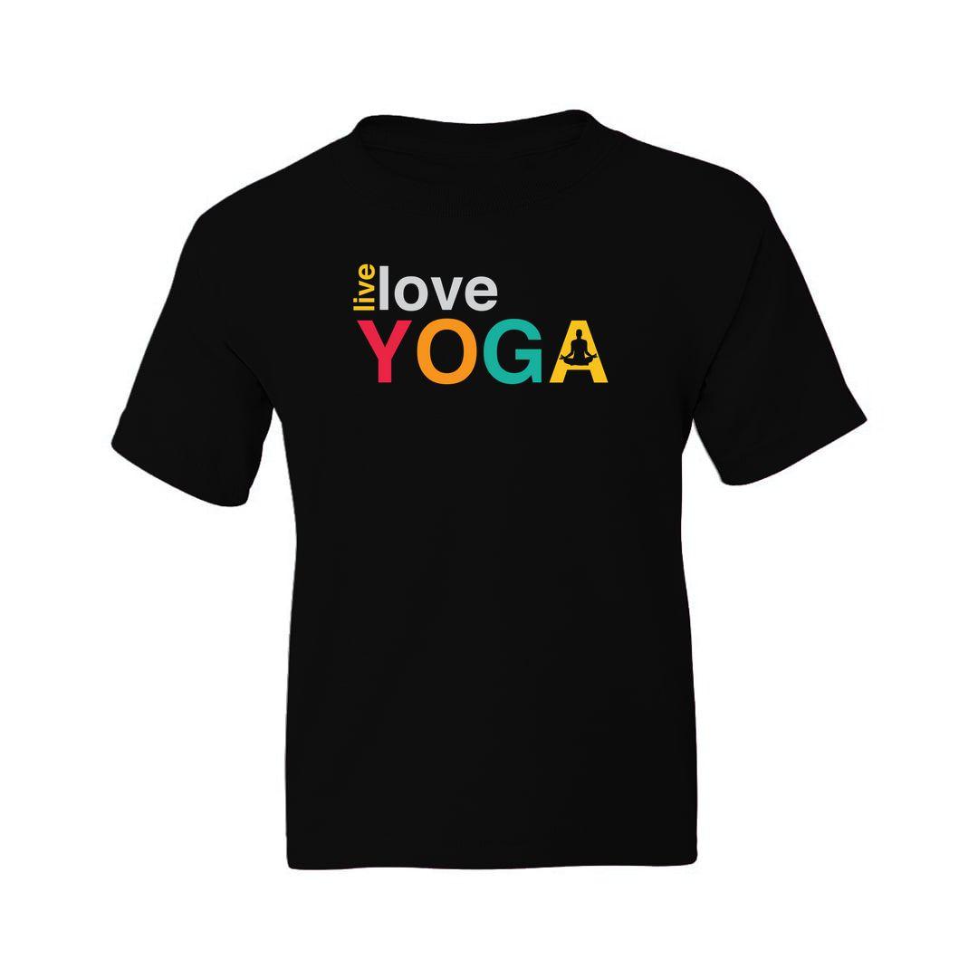 F84b65c2 Live Love Yoga For Indian Yoga Classes Kids T Shirt Black Front
