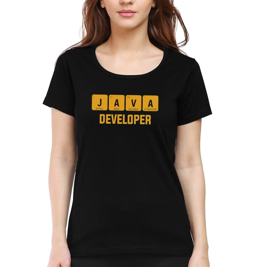 F993173b Java Developer Cool Office Wear Women T Shirt Black Front