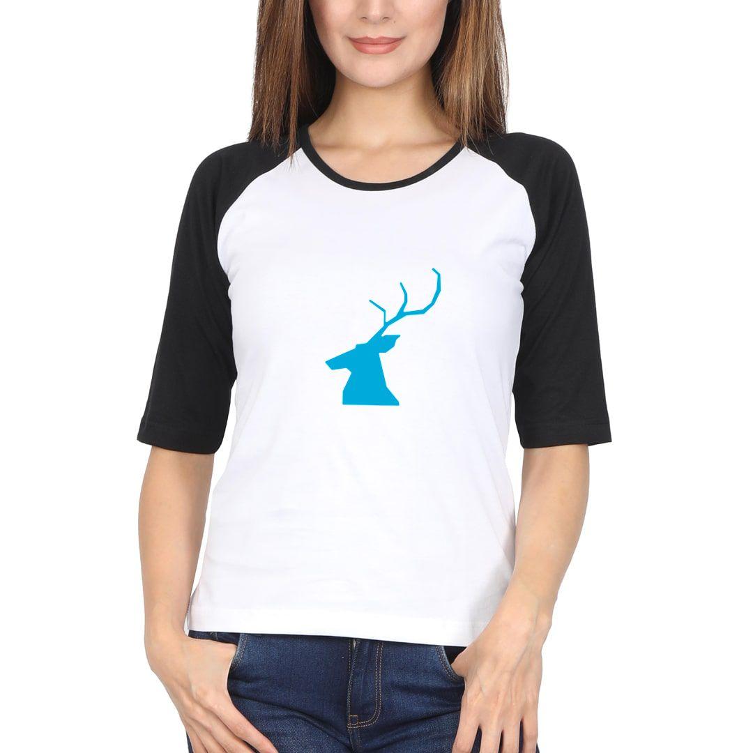 0699292c My Spirit Animal Women Raglan Elbow Sleeve T Shirt Black White Front