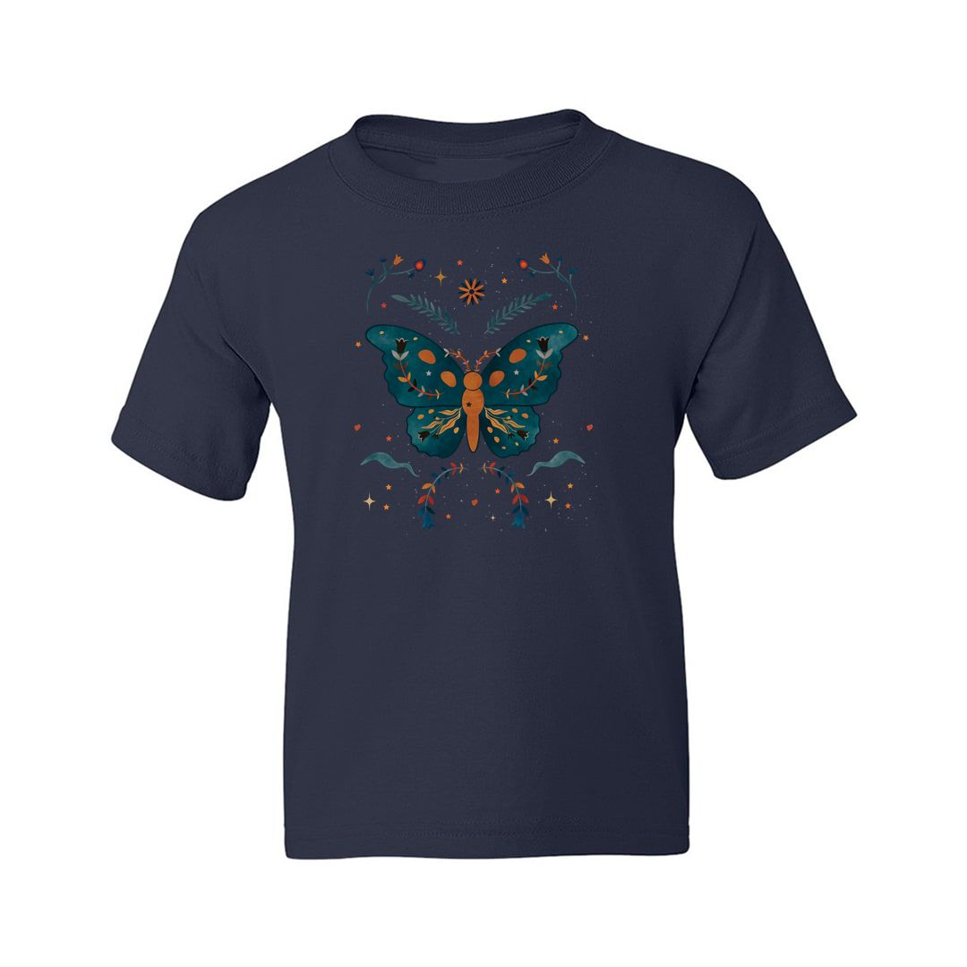 226b82ed Aesthetic Butterfly Kids T Shirt Navy Front