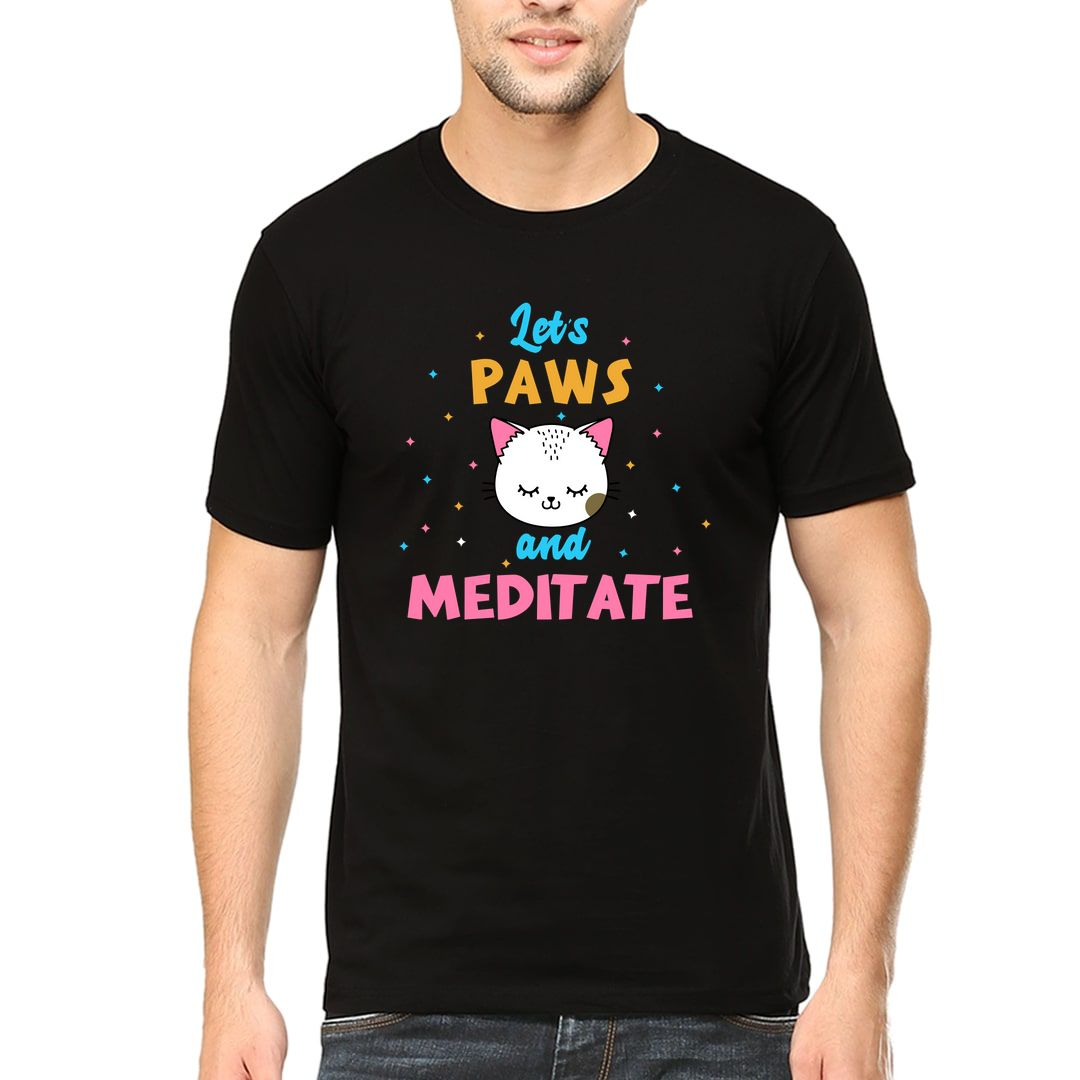 4e386c78 Lets Paws And Meditate Cute Kawaii Design For Cat And Yoga Lovers Men T Shirt Black Front