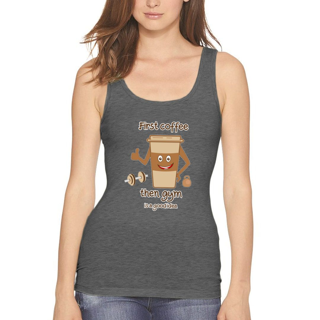 554313f2 First Coffee Then Gym Women Tank Top Charcoal Front