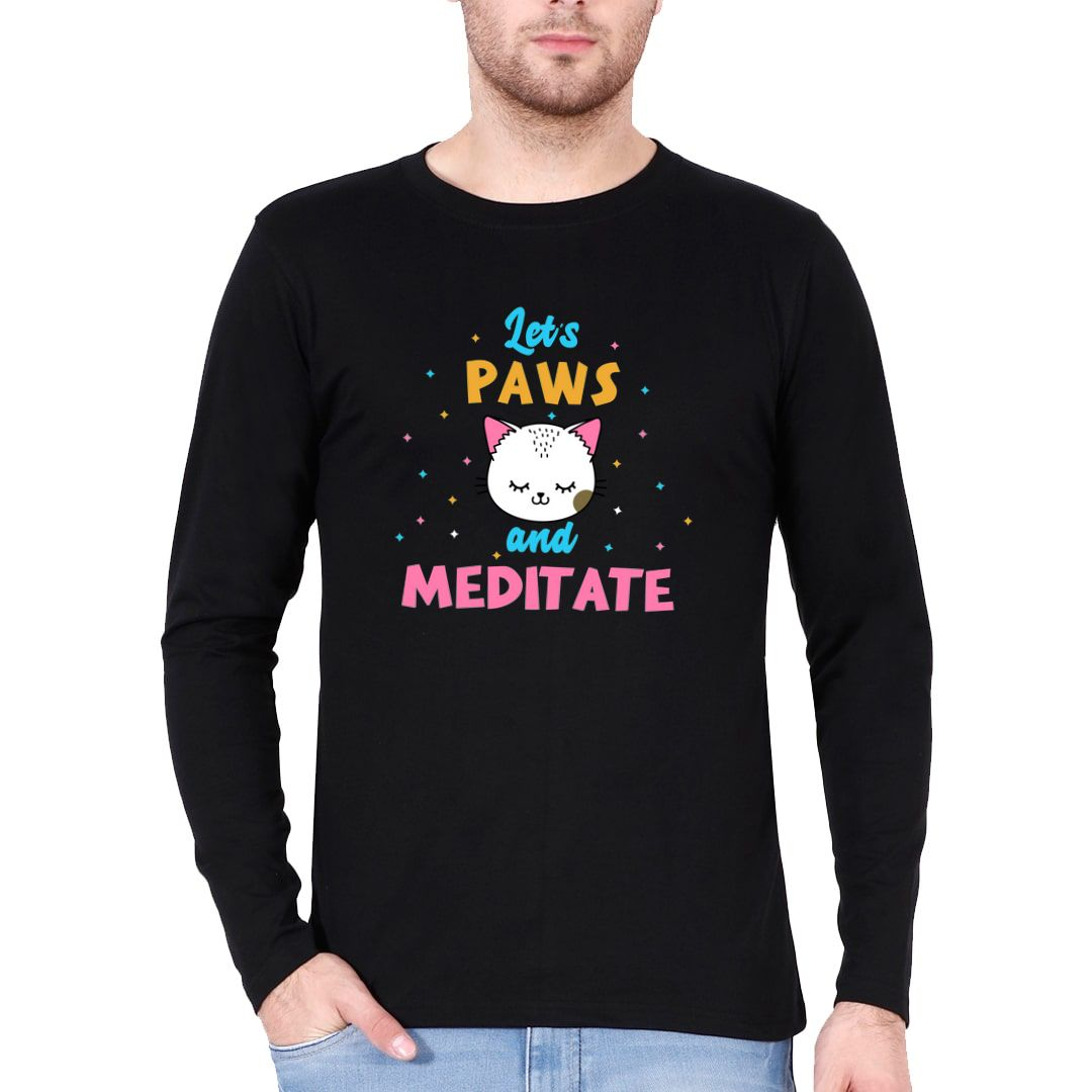 59781c70 Lets Paws And Meditate Cute Kawaii Design For Cat And Yoga Lovers Full Sleeve Men T Shirt Black Front