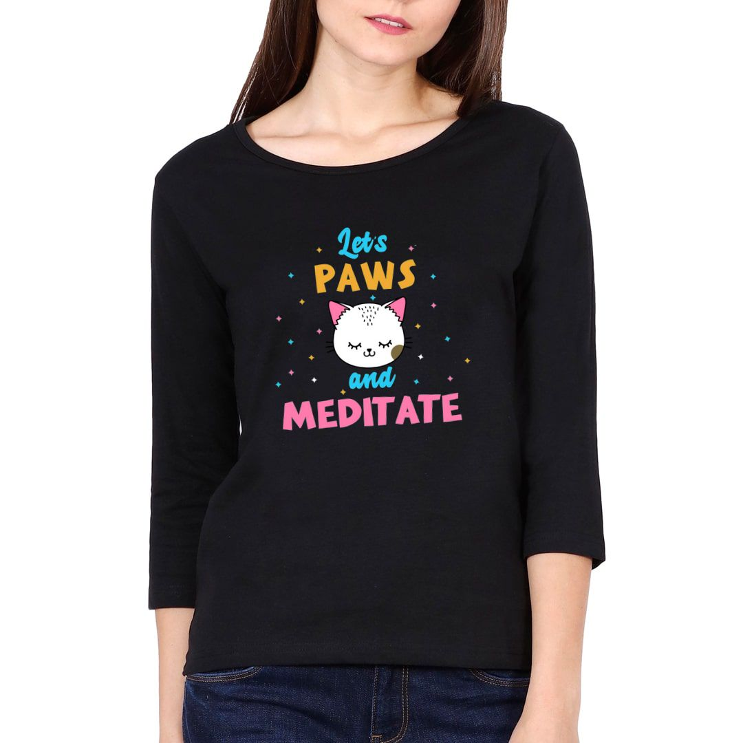 5c96018e Lets Paws And Meditate Cute Kawaii Design For Cat And Yoga Lovers Elbow Sleeve Women T Shirt Black Front