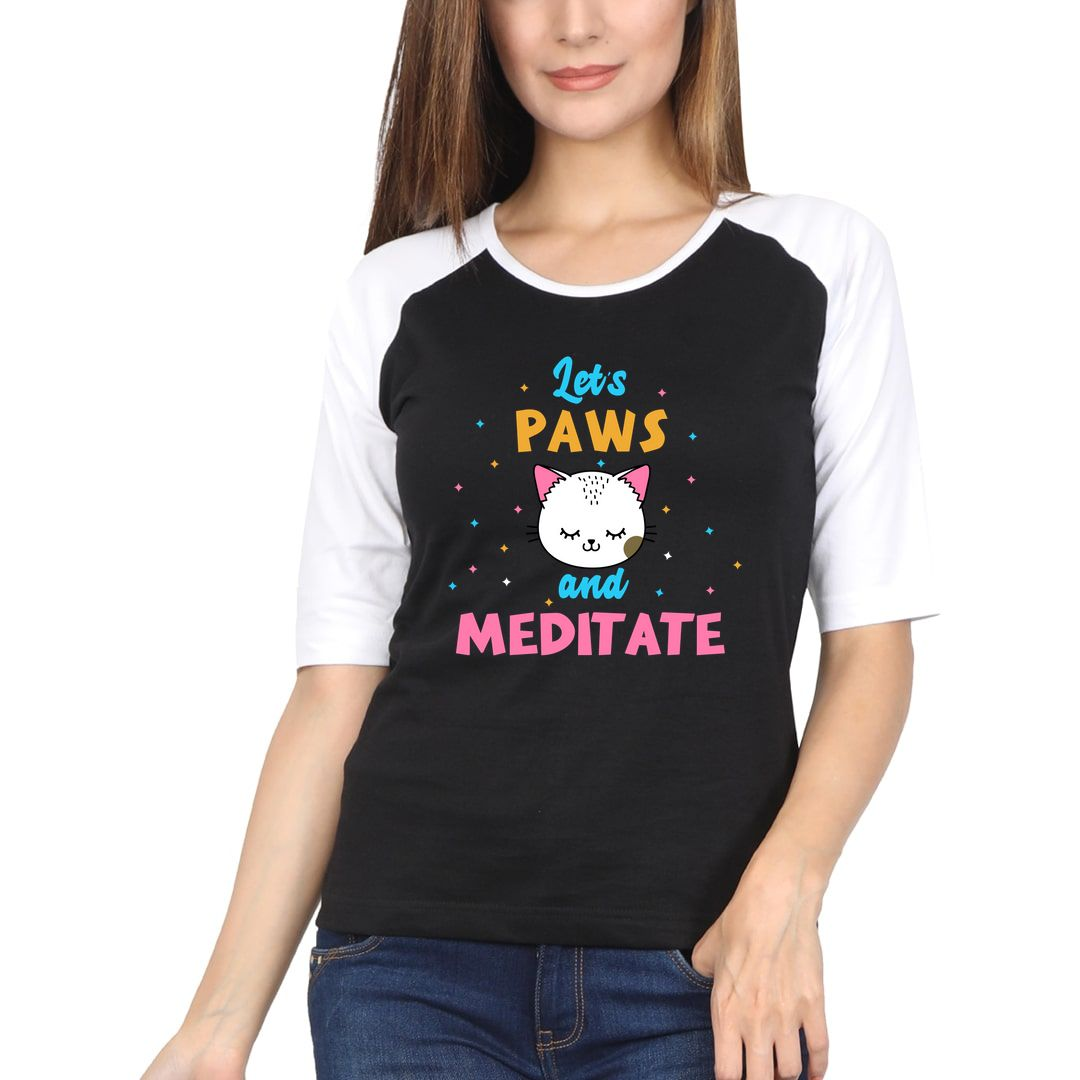 B4b7deb8 Lets Paws And Meditate Cute Kawaii Design For Cat And Yoga Lovers Women Raglan Elbow Sleeve T Shirt White Black Front