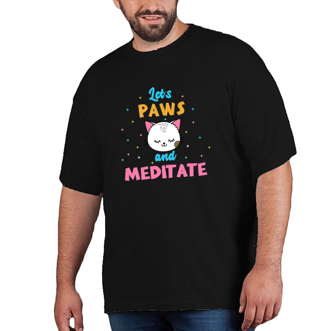 B5b9f602 Lets Paws And Meditate Cute Kawaii Design For Cat And Yoga Lovers Plus Size T Shirt Black Front