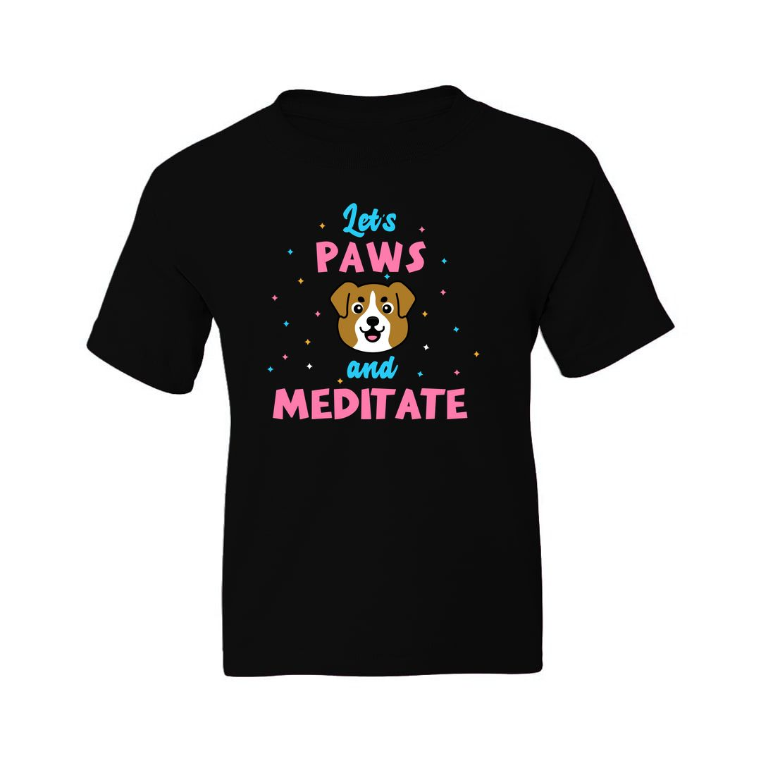 Cae1998b Lets Paws And Meditate Cute Kawaii Design For Dog And Yoga Lovers Kids T Shirt Black Front