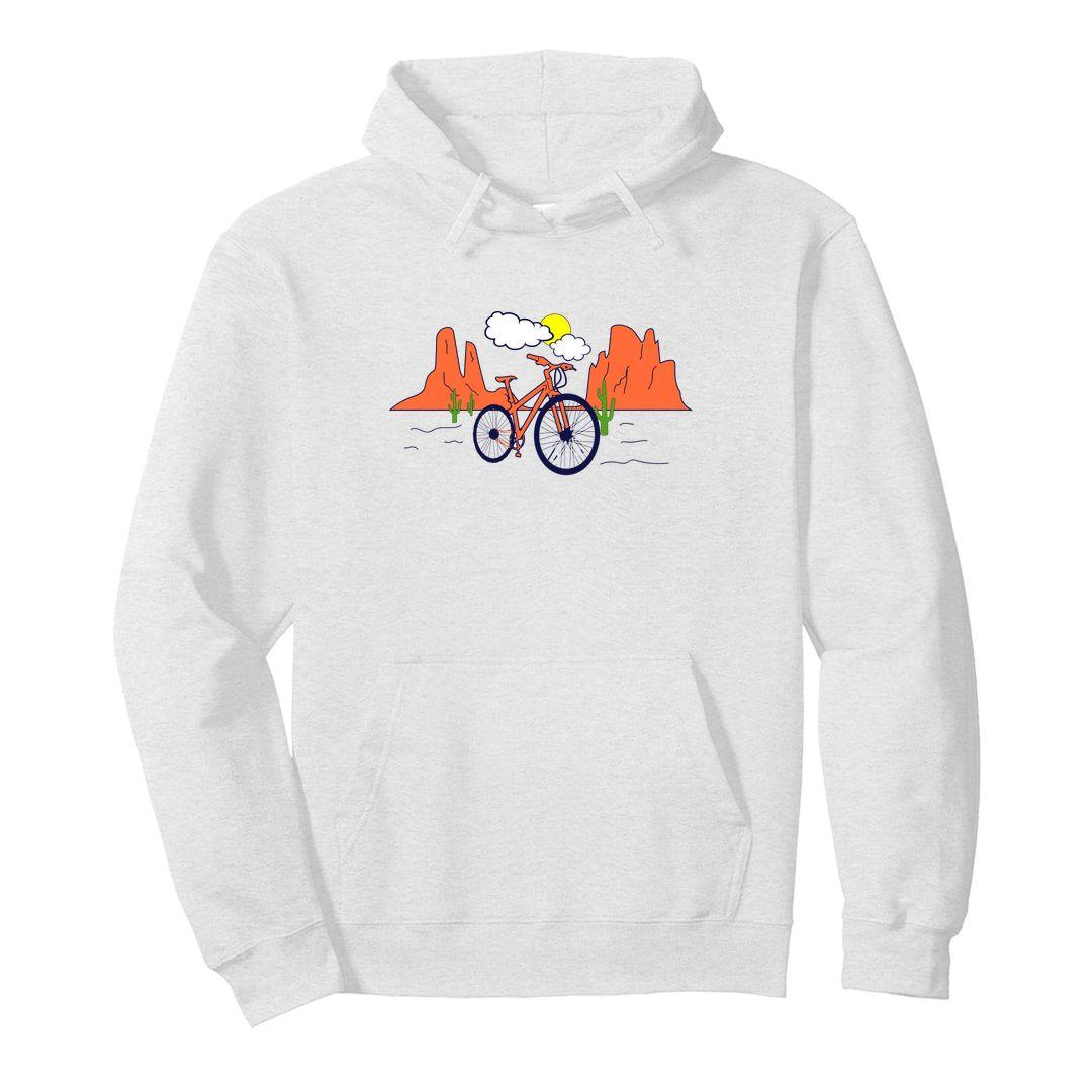 D1e23c9c Life Of A Randonneur Cyclist Brevet Hybrid Mountain Biker Unisex Hooded Sweatshirt Hoodie White Front